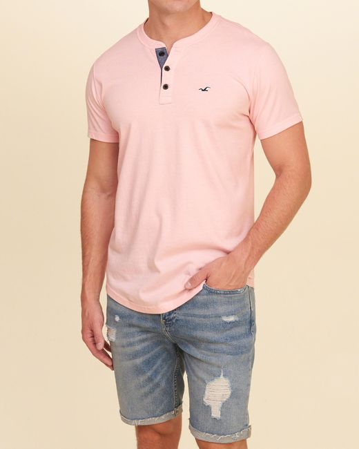 Hollister must have henley in pink for men lyst for Must have dress shirts