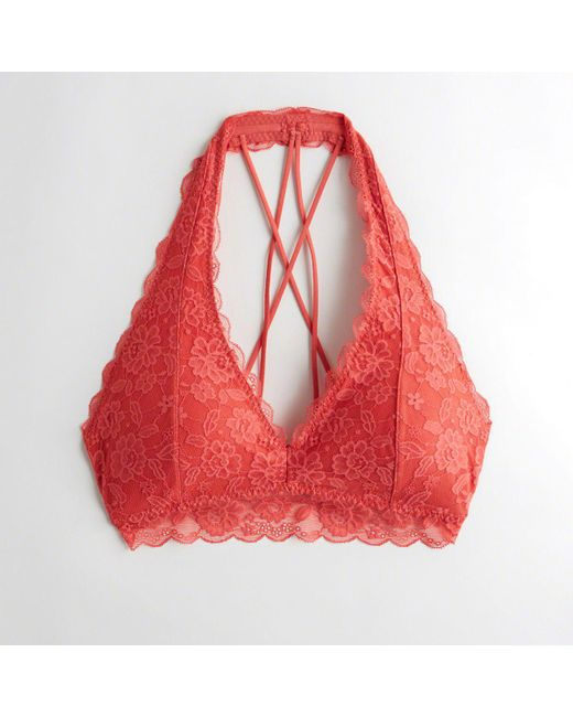 6c8f82b509 Hollister - Red Girls Strappy Halter Bralette With Removable Pads From  Hollister - Lyst