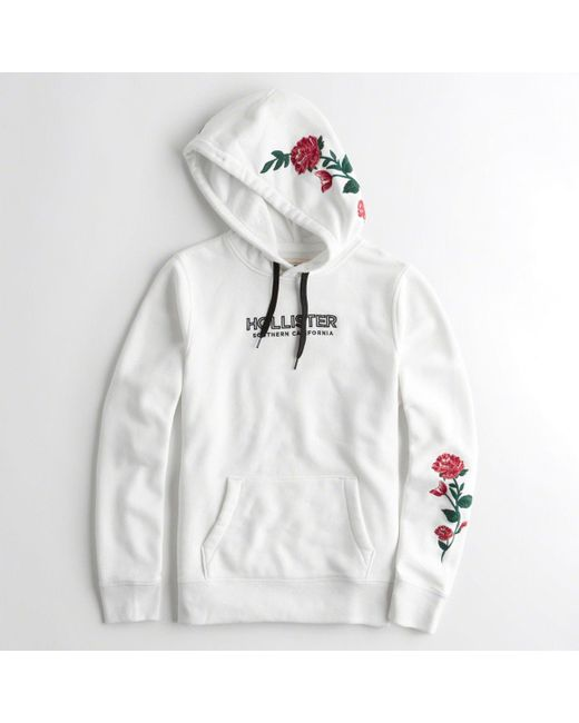 Lyst Hollister Rose Embroidered Graphic Hoodie In White