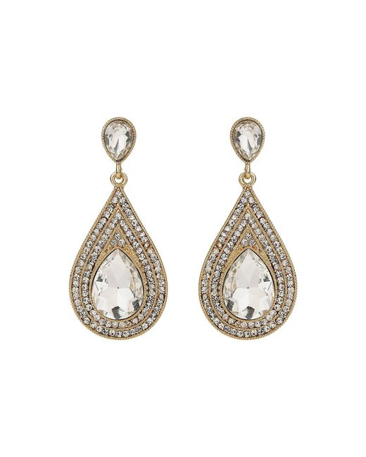 Mikey - Metallic Oval Crystal Studded Edged Earring - Lyst