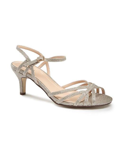Paradox London Pink | Metallic Harper Two Part Mid Heel Sandals | Lyst