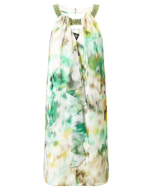 Ariella | Green Heather Frill Front Short Dress | Lyst