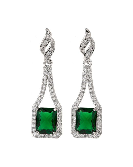 Mikey | Green Edge Link Cubic Centre Drop Earring | Lyst
