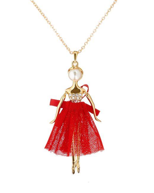 Ted Baker - Red Bijou Pavé Ballerina Pendant - Lyst