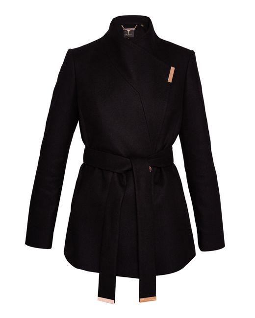 Ted Baker   Black Keyla Short Wrap Cashmere-blend Coat   Lyst