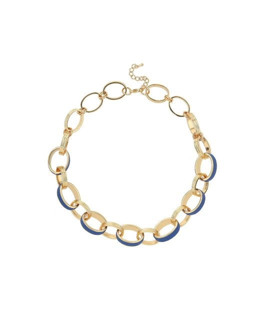 Mikey | Blue Leather Metal Rings Necklace | Lyst