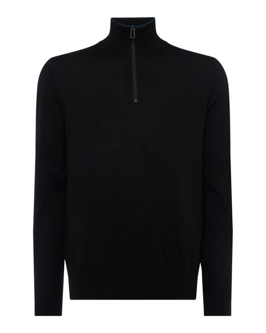 PS by Paul Smith | Black Half Zip High Neck Merino Jumper for Men | Lyst