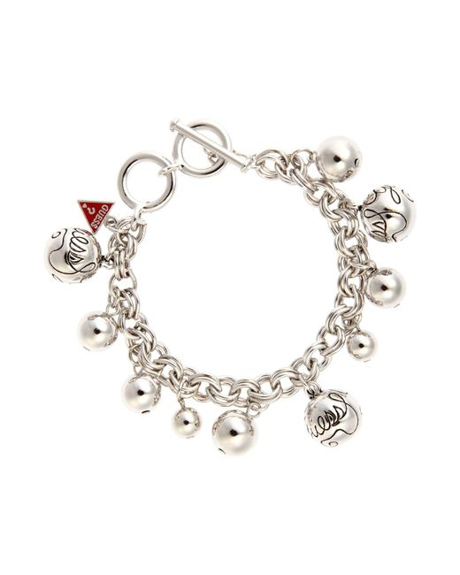 Guess | Metallic Rhodim Bauble Bracelet | Lyst