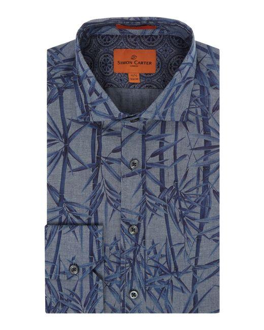 Simon Carter | Blue Chambray Bamboo Print Harrison Shirt for Men | Lyst