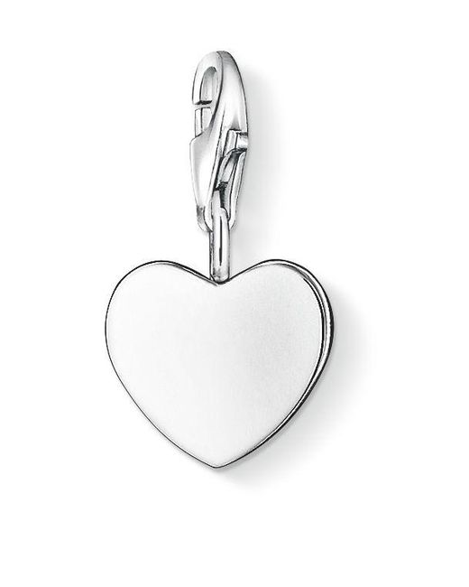 Thomas Sabo | Metallic Charm Club Silver Flat Heart | Lyst