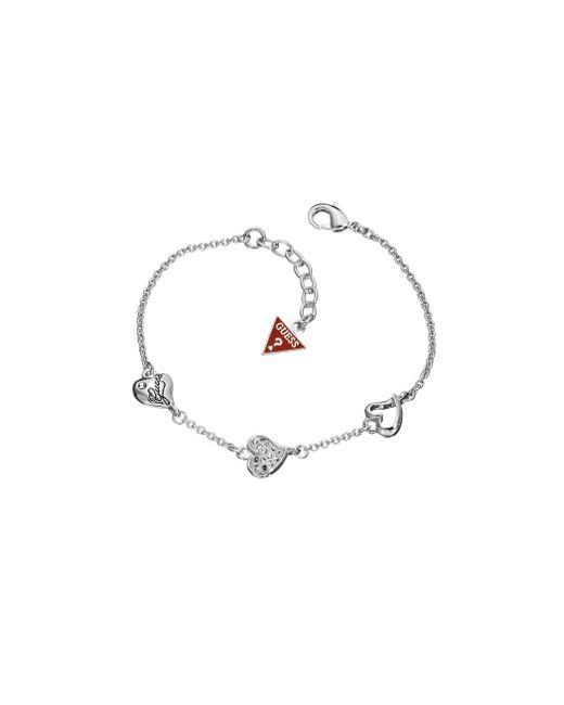 Guess | Metallic Rhodium Plated Triple Heart Bracelet | Lyst
