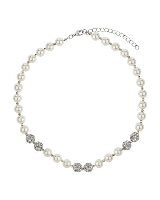 Mikey | White 6 Ball Stone Necklace | Lyst