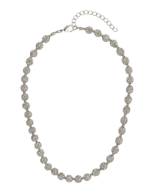 Mikey | White Crystal Small Heavy Necklace | Lyst