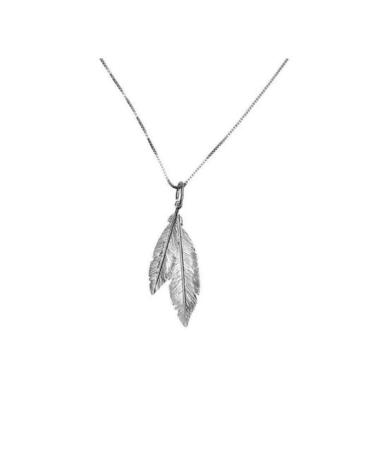 Azendi | Metallic Silver Twin Feather Pendant | Lyst