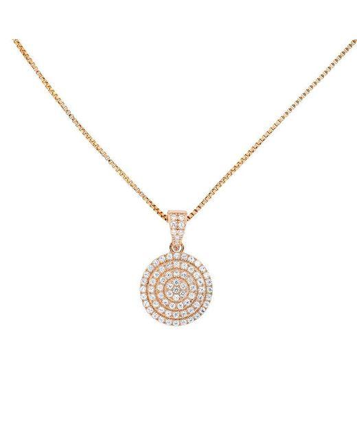 Azendi | Metallic 18ct Rose Gold Vermeil Pavé Circle Pendant | Lyst