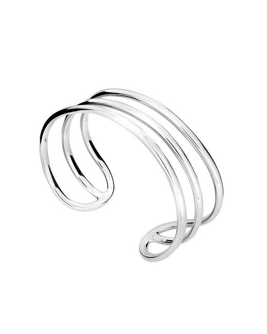 Azendi | Metallic Silver Three Bar Cuff | Lyst
