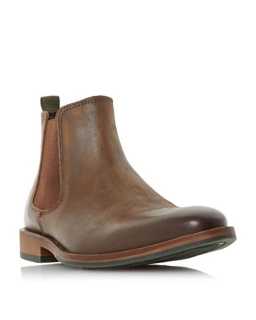 Dune - Brown 'conor' Leather Chelsea Boots for Men - Lyst