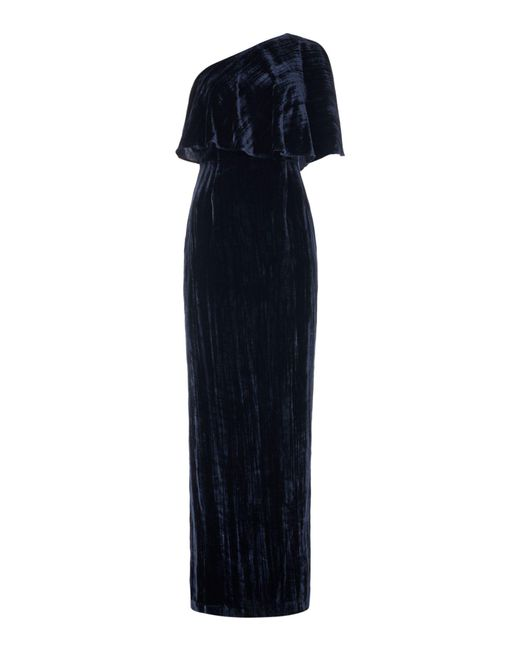 Adrianna Papell - Blue One Shoulder Crushed Velvet Maxi Dress - Lyst