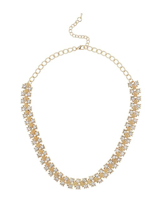 Mikey | Metallic Diamond Design Link Crtstal Necklace | Lyst