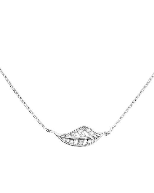 Azendi | Metallic Sterling Silver Leaf Necklace With Cubic Zirconia | Lyst