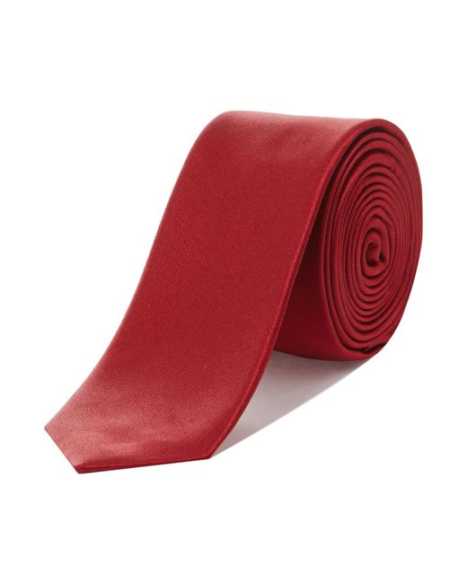 Kenneth Cole - Red Solid Satin Silk Tie for Men - Lyst