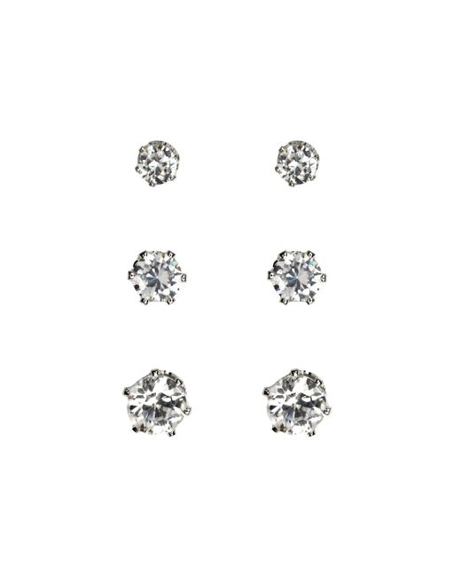 Anne Klein | Metallic Set Of 3 Silver Stud Earrings | Lyst