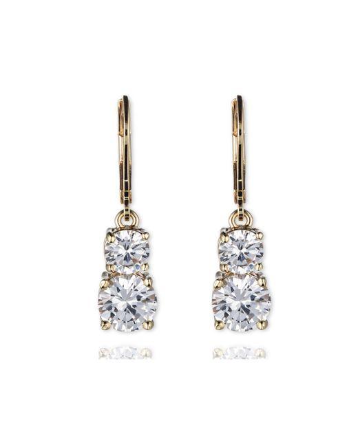 Anne Klein | Metallic Leverback Double Stone Drop Earrings | Lyst