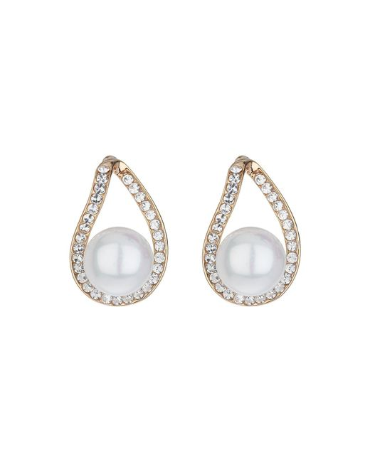 Mikey | Metallic Loop Crystal Pearl Drop Earring | Lyst