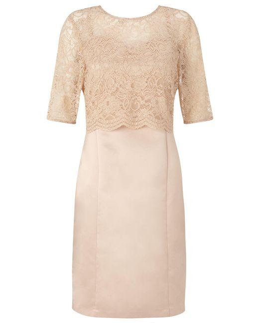 Ariella | Natural Dee Lace Crop Overlay Dress | Lyst