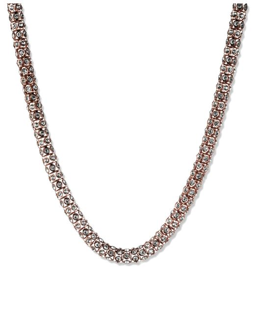 Anne Klein | Metallic Rose Gold Pave Necklace | Lyst