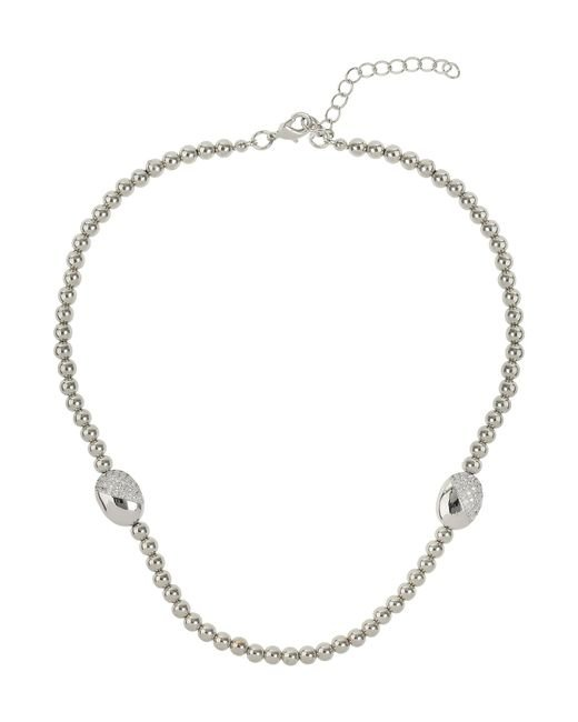 Mikey | Metallic Twin Crystal Oval Bead Necklace | Lyst