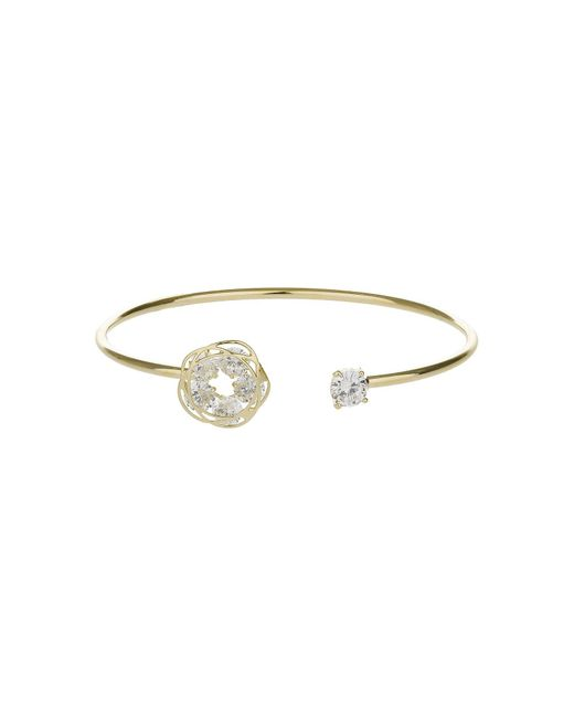 Mikey | Metallic Daisy End And Cubic End Cuff Bangle | Lyst