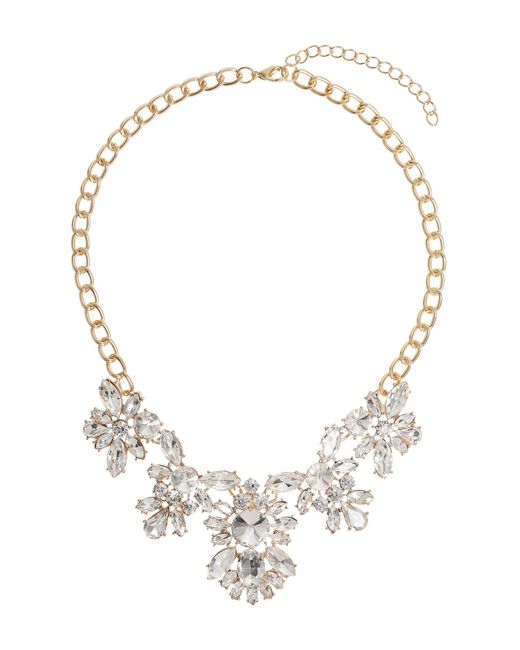 Mikey | Metallic Multi Crystal Flower Linked Necklace | Lyst