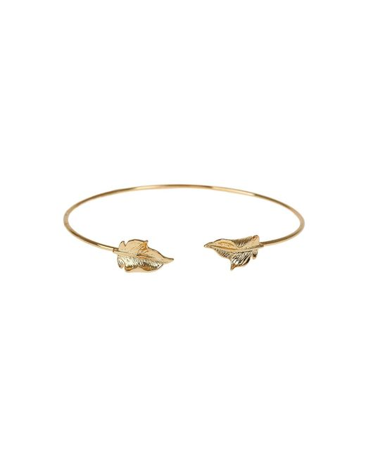 Mikey | Metallic Leaf Cap End Wire Cuff Bracelet | Lyst