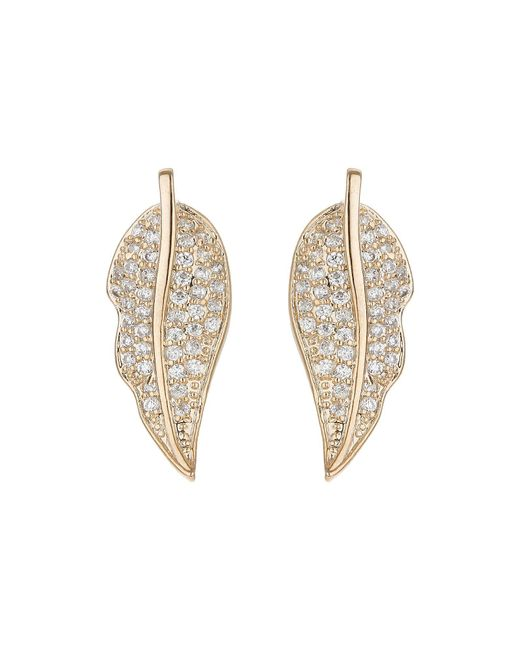 Mikey | Metallic Leaf Design Mini Cubic Earring | Lyst
