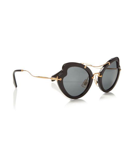 Miu Miu | Black Irregular 0mu 11rs Sunglasses | Lyst