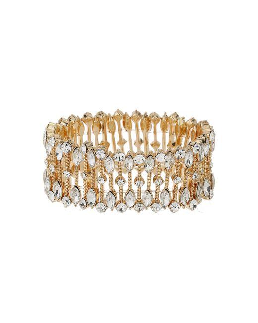 Mikey | Metallic Oval Crystal Wide Elastic Bracelet | Lyst
