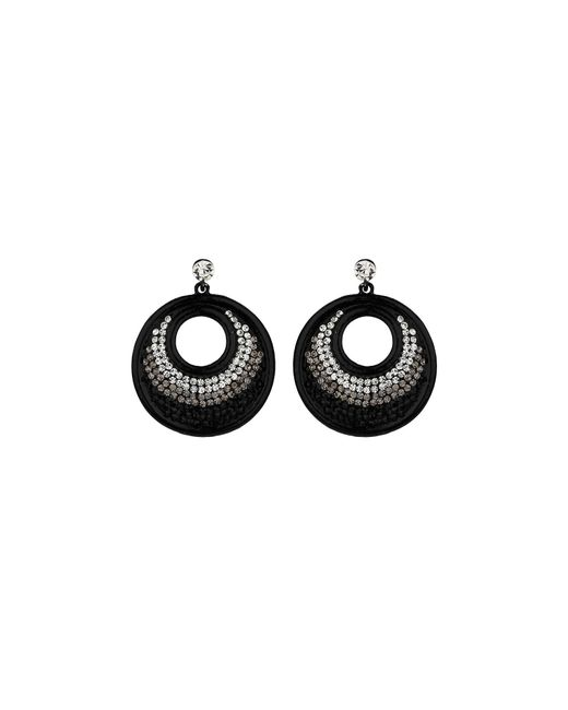 Mikey | Black Large Round Earring | Lyst