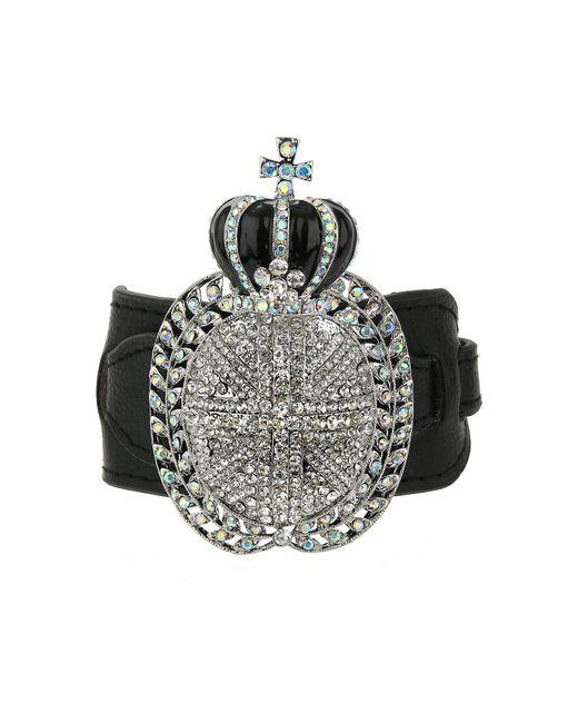 Mikey | Black Crown Leather Bracelet | Lyst