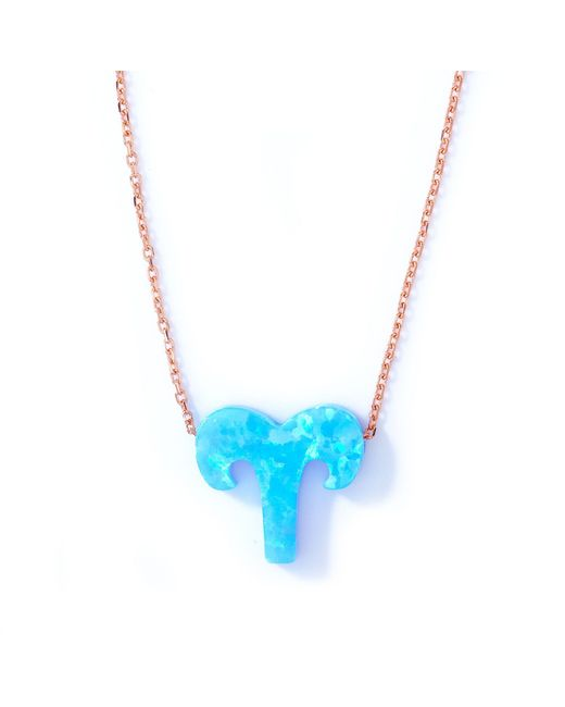 Lucky Eyes | Aries Blue Opal Zodiac Necklace | Lyst