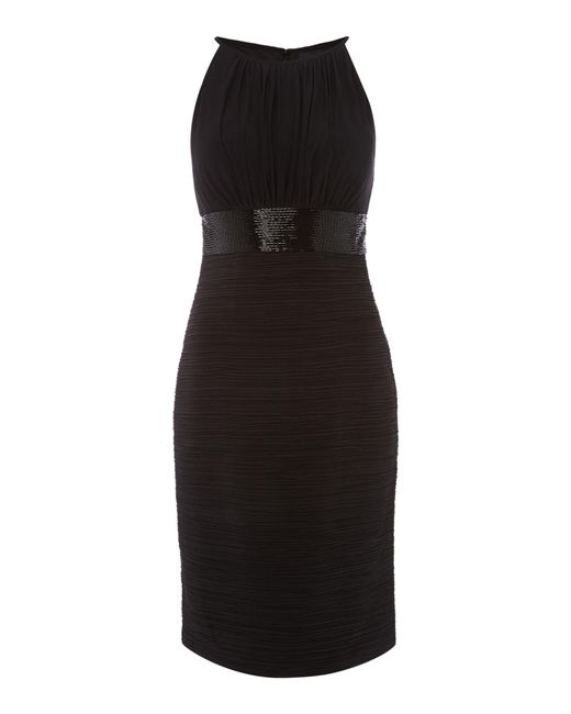 JS Collections - Black Jersey Halter Dress With Beaded Waistband - Lyst