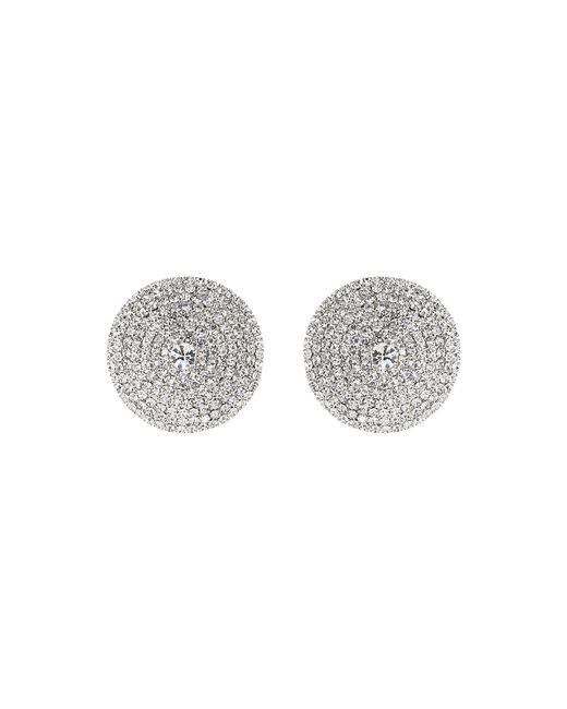 Mikey - White Round Shield Design Cubic Embed Earring - Lyst