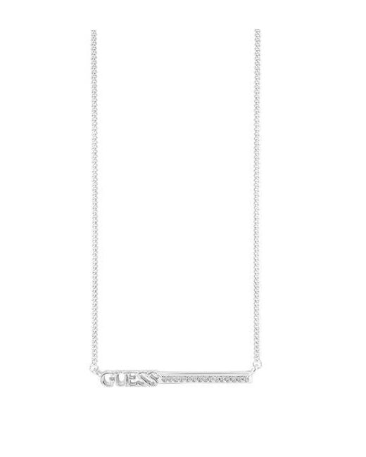 Guess - White Linear Logo Bar Necklace - Lyst