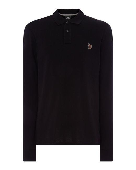 PS by Paul Smith   Black Men's Long Sleeve Zebra Logo Polo Shirt for Men   Lyst