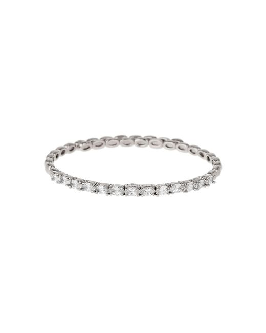 Mikey - White Oval Cubic Stone Spring Cuff Bracelet - Lyst