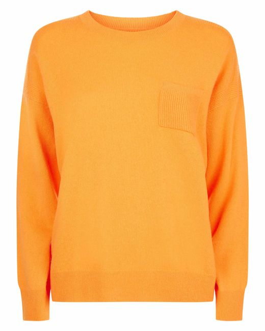 Jaeger - Orange Cashmere Boxy Sweater With Front Pocket - Lyst