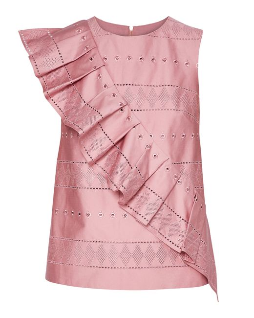 Ted Baker - Pink Forelli Ruffle Front Embroidered Top - Lyst