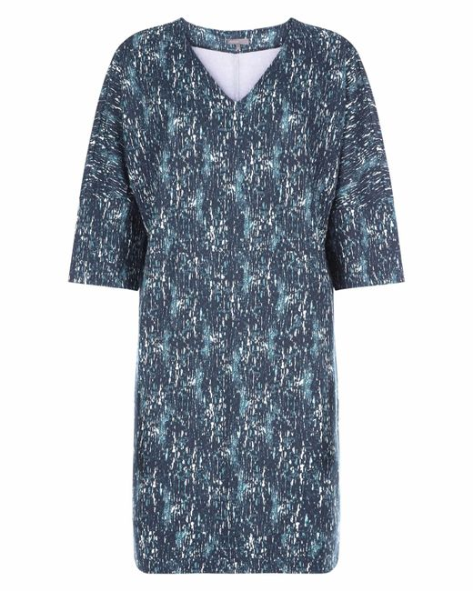 Jaeger - Blue Textured Bark Jersey Ponte Dress - Lyst