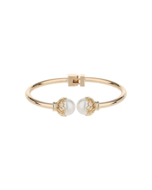 Mikey | Metallic Twin Pearl Filigree End Hinged Bracelet | Lyst