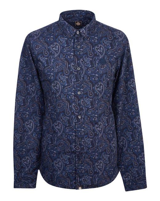 Pretty Green - Blue Men's Slim Fit Paisley Print Shirt for Men - Lyst